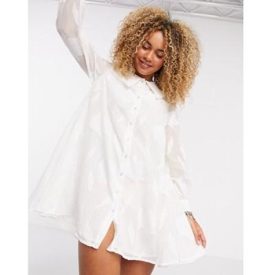 オブジェクト ミディドレス レディース Object smock dress with collar detail in white floral エイソス ASOS ホワイト 白