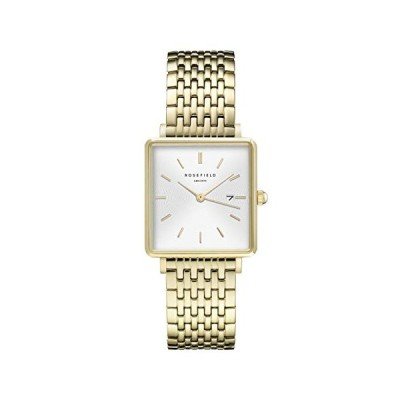 Rosefield Women's Watch The Boxy White Dial Sunray Steel Gold Strap Gold Square Case QWSG-Q09 並行輸入品