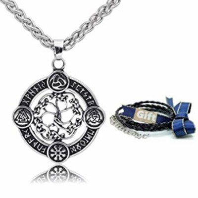 CANNE Norse Viking Stainless Steel Pendant Necklace Celtic Pagan Amulet Necklace Jewelry for Men Women (Yggdrasil)