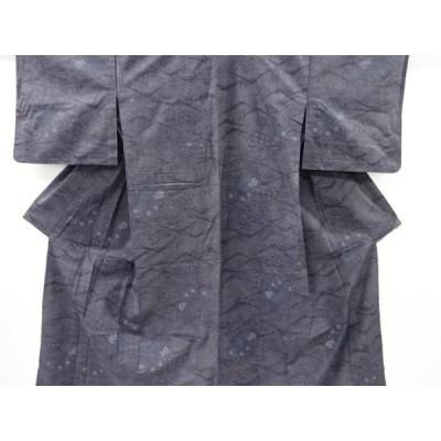 宗sou 遠山に草花模様織り出し手織り紬単衣着物【アンティーク】【着】