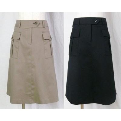 シルキーカルゼAラインスカート【ネイビー】【ブラウン】