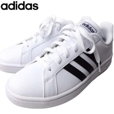 adidas EE7904 アディダス メンズ レディース ジュニア 男女兼用 スニーカー ホワイト 白 ぺたんこ ラクチン クッション レースアップ 靴紐 フィット