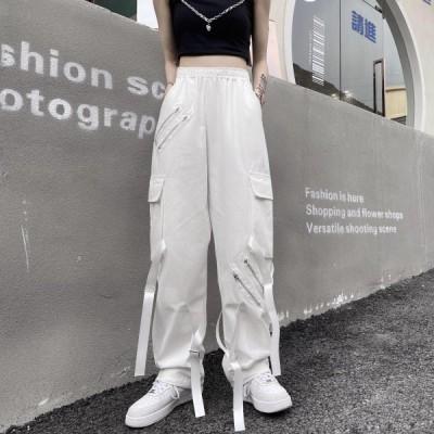 カーゴパンツ レディース 韓国スタイル ハイウエスト ストリート系ファッション ジョガーパンツ スポーツ ダンス 黒 ホワイト 春夏 10代 20代 30代
