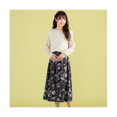 水彩風フラワープリントスカート