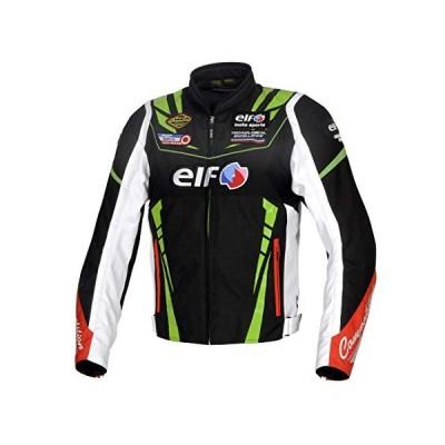 エルフ(ELF) バイク用 ジャケット ヴィットリアスポルトジャケット ブラック&グリーン Lサイズ EL-9247