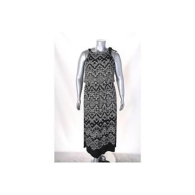 アルファーニ ドレス ワンピース フォーマル Alfani ブラック ホワイト ノースリーブ プリント Blouson Maxi ドレス サイズ L 99 LAFO