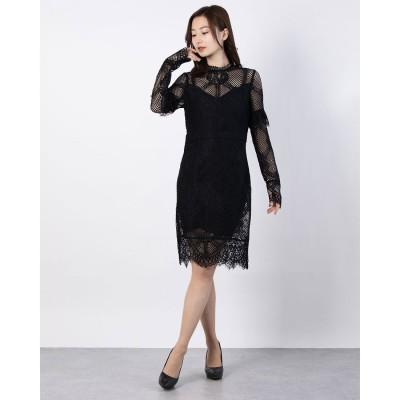 ゲス GUESS MIXED SHEATH DRESS (JET BLACK W/ FROST GREY)