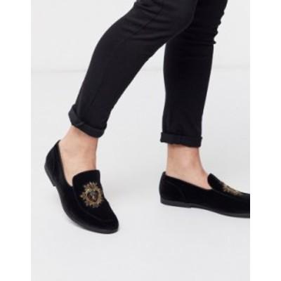 エイソス メンズ スリッポン・ローファー シューズ ASOS DESIGN loafers in black velvet with badge detail Black