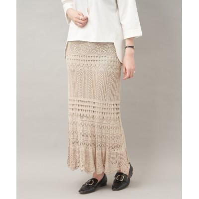 ☆【ウエストゴムで今年注目のカギ針】クロシェニットロングスカート