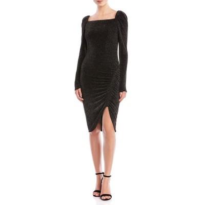 ベイリーフォーティフォー レディース ワンピース トップス Ariana Ruched Metallic Square-Neck Dress