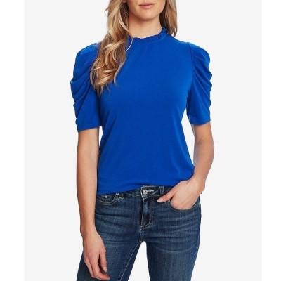 セセ レディース Tシャツ トップス Puff Sleeve Ruffled Mock Neck Knit Top Deep Royal Blue