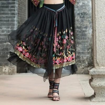 新品 レディース 中国風 大きいサイズ エレガント/ ゆったり/フレアスカート 花柄 刺繍 コットン/スカート レディース 体型カバー服