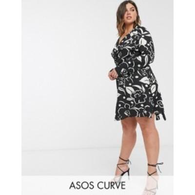 エイソス レディース ワンピース トップス ASOS DESIGN Curve wrap front mini dress in abstract floral print Black/white abstract