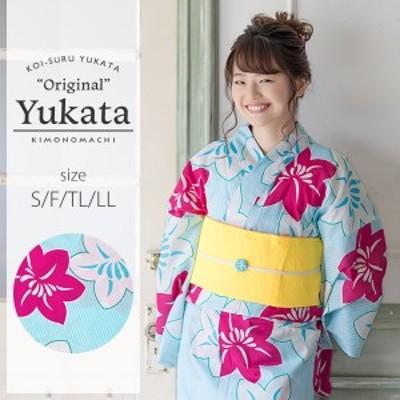 京都きもの町オリジナル 浴衣単品「水色 鉄線」お仕立て上がり浴衣  浴衣 女性浴衣 綿浴衣