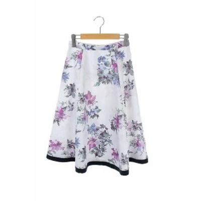 【中古】ジャスグリッティー JUSGLITTY 19SS ロングスカート フラワー プリント  0 紫 パープル /AO ■OS レディース
