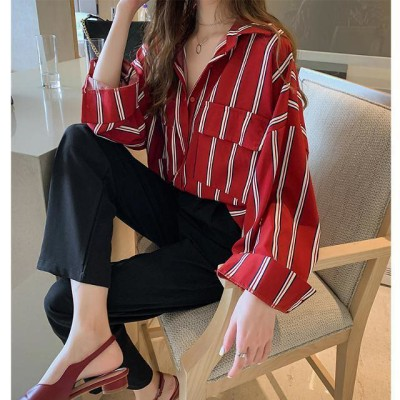 2020春新作 韓国ファッション シフォン ロングシャツ  ストライプシャツ シフォン シャツ  セイディ ポケットシャツ 韓国ファッション トップスレディース