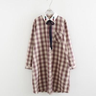 お洒落な長袖ワンピース チェック柄 ワンピース レディース リボン付き かわいい 刺繍 ミディアム 蝶結びリボン