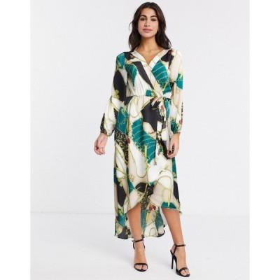 アックスパリス ミディドレス レディース AX Paris chain print wrap dress エイソス ASOS マルチカラー