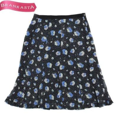 courreges クレージュ シルク100% 花柄 ひざ丈 セミフレアースカート 36 ブラック×ブルー他\期間限定 特別セール/22ln35