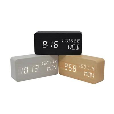 目覚まし時計 置き時計 デジタル LED表示 大音量 温度計 カレンダー アラーム 振動/音感センサー 輝度調節 設定記憶 USB給電 木製 おしゃれ ウッド