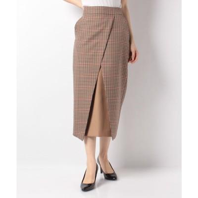 actuelselect 【blanc basque】バレンシアチェック配色切替スカート(ベージュ系)【返品不可商品】