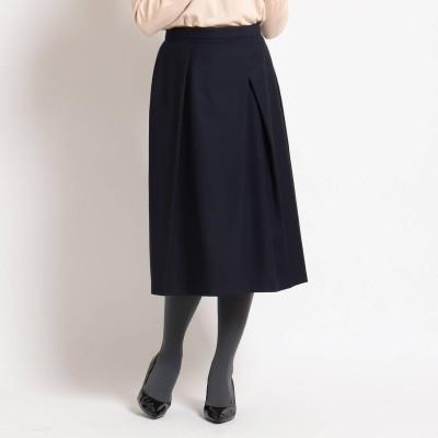 スーナウーナ SunaUna 【洗える】ストレッチタックフレアスカート (ネイビー)