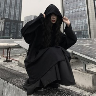 リアルショット価格?男性と女性のためのダークブラックのフード付きミドル丈コート64007#