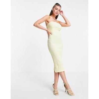 エイソス レディース ワンピース トップス ASOS DESIGN corset rib bandeau midi dress in lemon