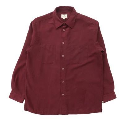 フェイクスウェードシャツ 長袖 ボックス ワインレッド サイズ表記:M