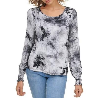ダナ キャラン ニューヨーク レディース Tシャツ トップス Jeans Tie-Dye Knit Jersey Long Sleeve Smocked Cuff Top