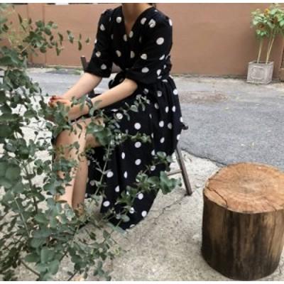 ワンピース ロング丈 Vネック 半袖 ドット ゆったり 着痩せ カジュアル 春夏 女子会 【TN0898】
