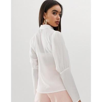 ファッションモンキー レディース シャツ トップス Fashion Union embroidered button front blouse with balloon sleeves IVORY