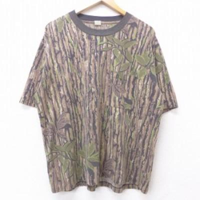 古着 半袖 ビンテージ Tシャツ 90年代 90s 胸ポケット付き リアルツリー 大きいサイズ クルーネック USA製 茶他 ブラウン 迷彩 XLサイズ