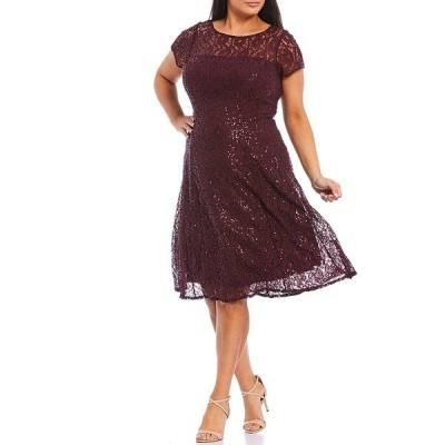 イグナイトイブニングス レディース ワンピース トップス Plus Size Cap Sleeve Sequin Lace Midi Dress Fig