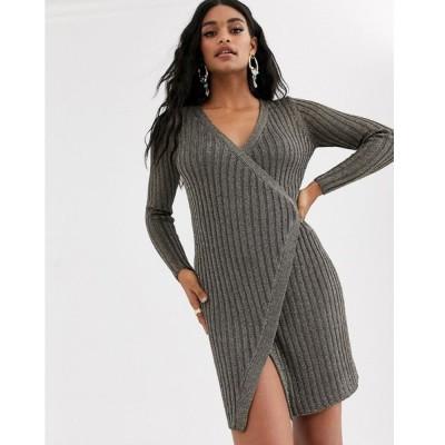 エイソス ミディドレス レディース ASOS DESIGN metallic knit wrap dress エイソス ASOS