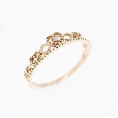 リング ハートモチーフ 天然ダイヤモンド 0.006 ct K10PG ピンクゴールド 指輪 未使用 【新品同様】 レディース