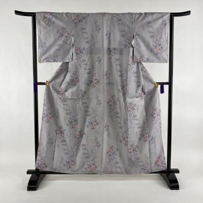 紬 美品 秀品 草花 幾何学 薄紫 袷 身丈160.5cm 裄丈63.5cm S 正絹 中古
