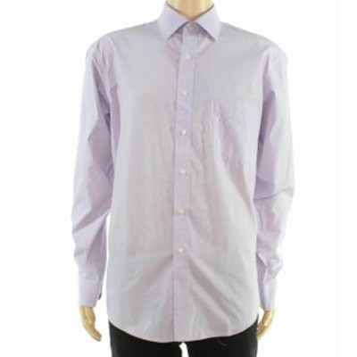 Pocket  ファッション ドレス Club Room Mens Dress Shirt Purple Size 15 1/2 Regular Fit Front Pocket