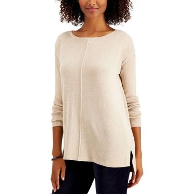 スタイル&コー Style & Co レディース ニット・セーター トップス Petite Seam-Front Sweater Sandcastle Heather