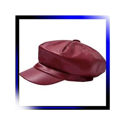 Aレッド レディース レザー キャスケット 帽子 おしゃれ かわい