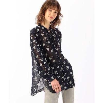 【MACPHEE】フラワープリント ギャザースリーブシャツ