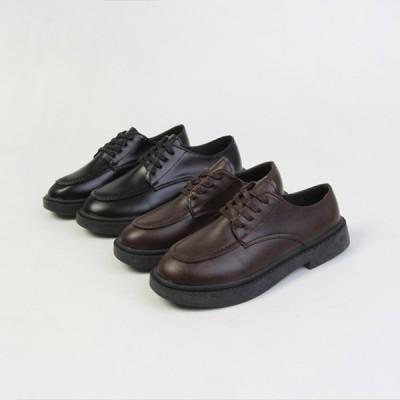 オックスフォードシューズ レースアップ ローヒール レディースシューズ おじ靴 革靴 黒 茶色 ブラック ブラウン ローファー スタンダード スムース 婦人靴 靴