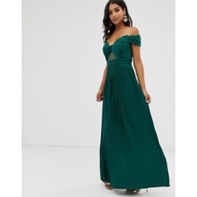 エイソス レディース ワンピース トップス ASOS DESIGN lace and pleat bardot maxi dress Forest green