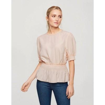ミス セルフリッジ Miss Selfridge レディース ブラウス・シャツ トップス blouse with shirred waist in blush ピンク