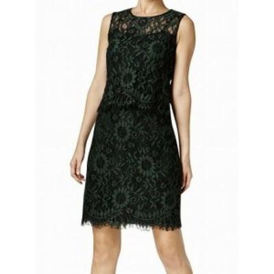 Calvin Klein カルバンクライン ファッション ドレス Calvin Klein NEW Cypress Green Womens Size 8 Lace Popover Dress