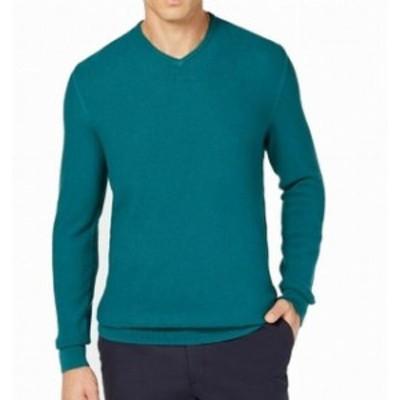 Pacific  ファッション トップス Tasso Elba NEW Pacific Green Mens Size Medium M Ribbed V-Neck Sweater
