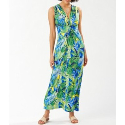 トッミーバハマ レディース ワンピース トップス Sleeveless V-Neck Twist Front Hot Tropic Print Maxi Dress Island Navy