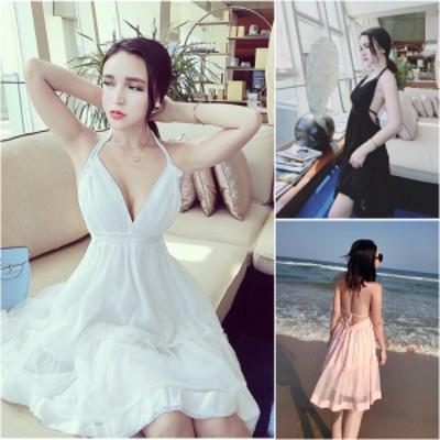 サマードレス 3色 ホワイト ピンク ブラック ホルターネック 女優ワンピース フレアーワンピース 無地 セクシーキュート フリル