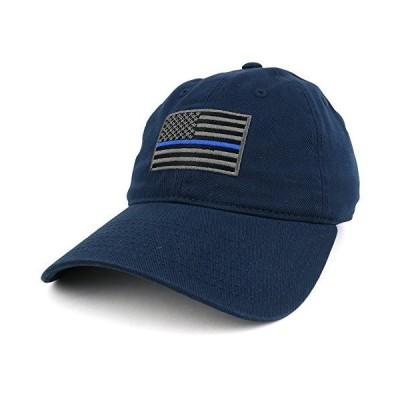 シンブルーライン刺繍USAフラグソフトフィットWashed Cotton Baseballキャップ カラー: ブルー