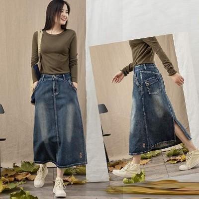 デニムロングスカート デニムスカート ミモレ丈 大人スタイル 刺繍 スリット 大きいサイズ有り S〜XXXL 送料無料